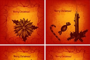 Set of vector Xmas cards