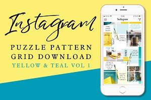 Instagram Puzzle Grid: Yellow & Teal