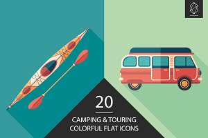 Camping and touring flat icon set