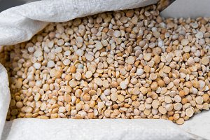 Close up on a dry raw chickpeas in a
