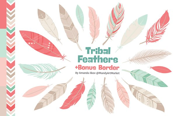 Mint & Coral Feathers Clipart