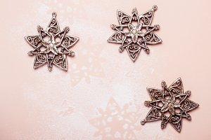 Vintage silver Christmas toys snowfl