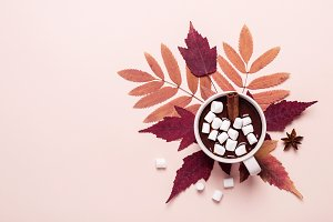 Thick hot chocolate cup with marshma