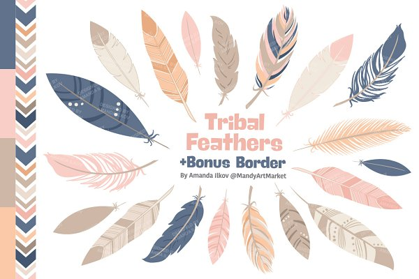Navy & Blush Feather Vector Clipart