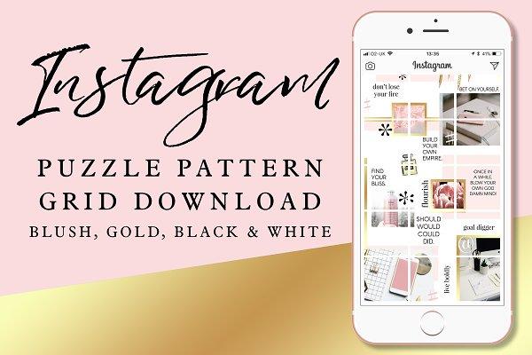 Instagram Puzzle Grid: Blush & Gold