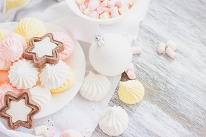 Marshmallow, cookies, meringues and