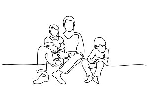 Family concept Father and kids