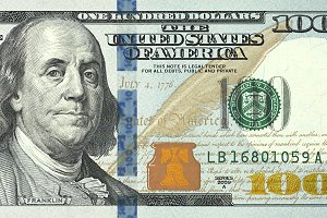 One hundred dollars bill close up de