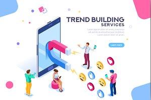 Social Media Concept Flat Isometric