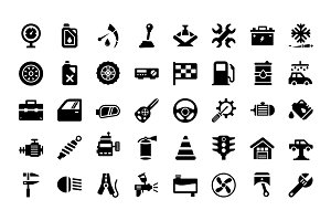 64 Auto Workshop Vector Icons