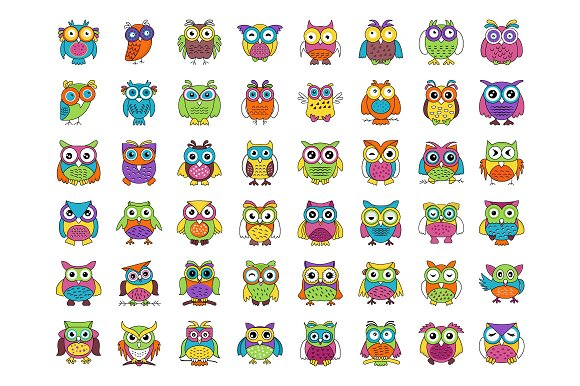 48 Baby Owl Cartoon Vector Icons