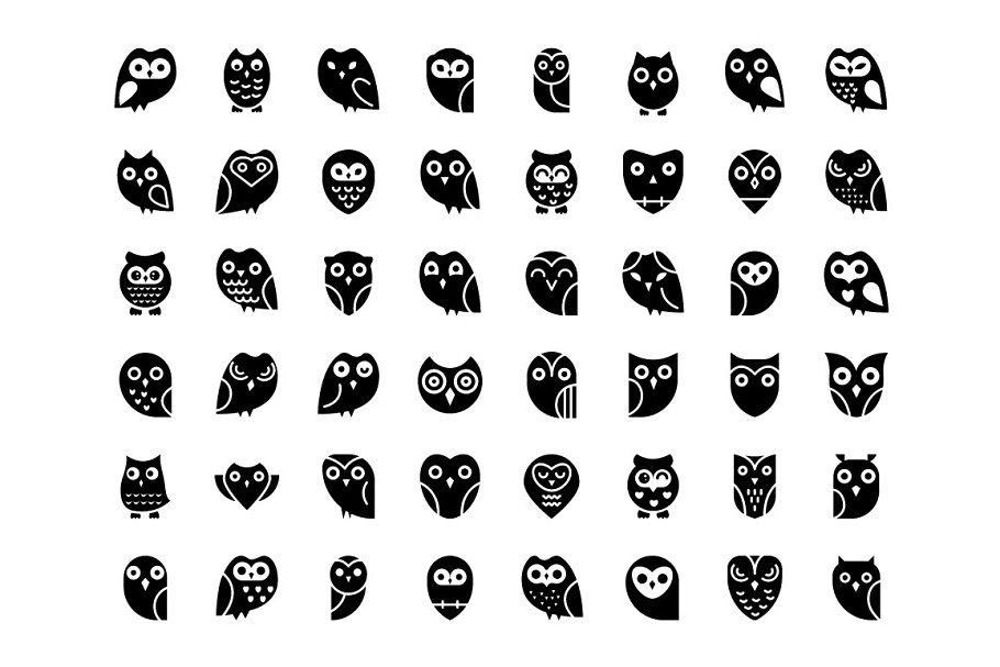 48 Owl Vector Icons