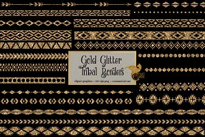 Gold Glitter Tribal Borders