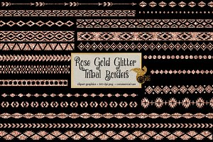 Rose Gold Glitter Tribal Borders