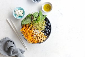 Buddha bowl salad with fresh veggies