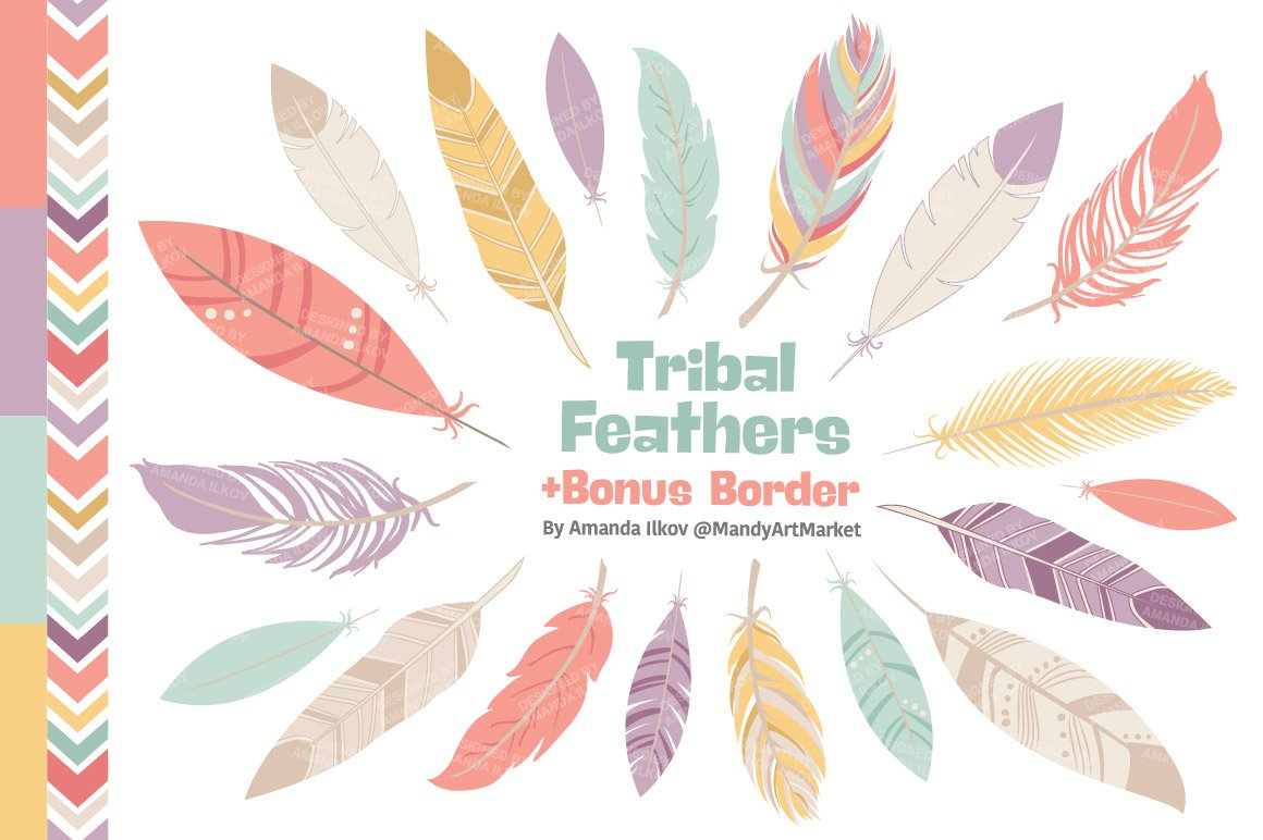 Vintage Pink Feathers Vector Clipart Illustrations Creative Market