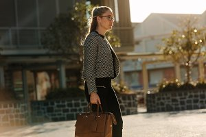 Businesswoman going to office