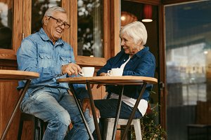 Senior couple having conversation