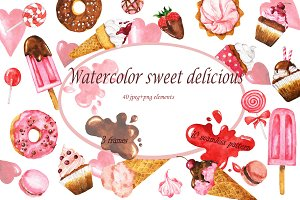 Watercolor sweet delicious