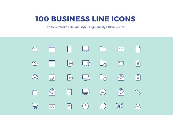 100 Business Line Icons