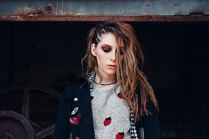 Lovely sad grunge (rock) girl