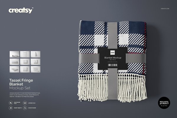 Graphics - Tassel Fringe Blanket Mockup Set