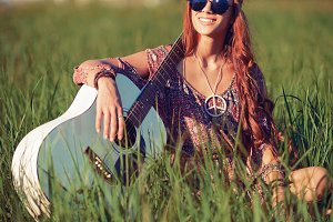 Beautiful smiling hippie girl