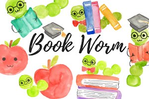 Watercolor school bookworm clipart