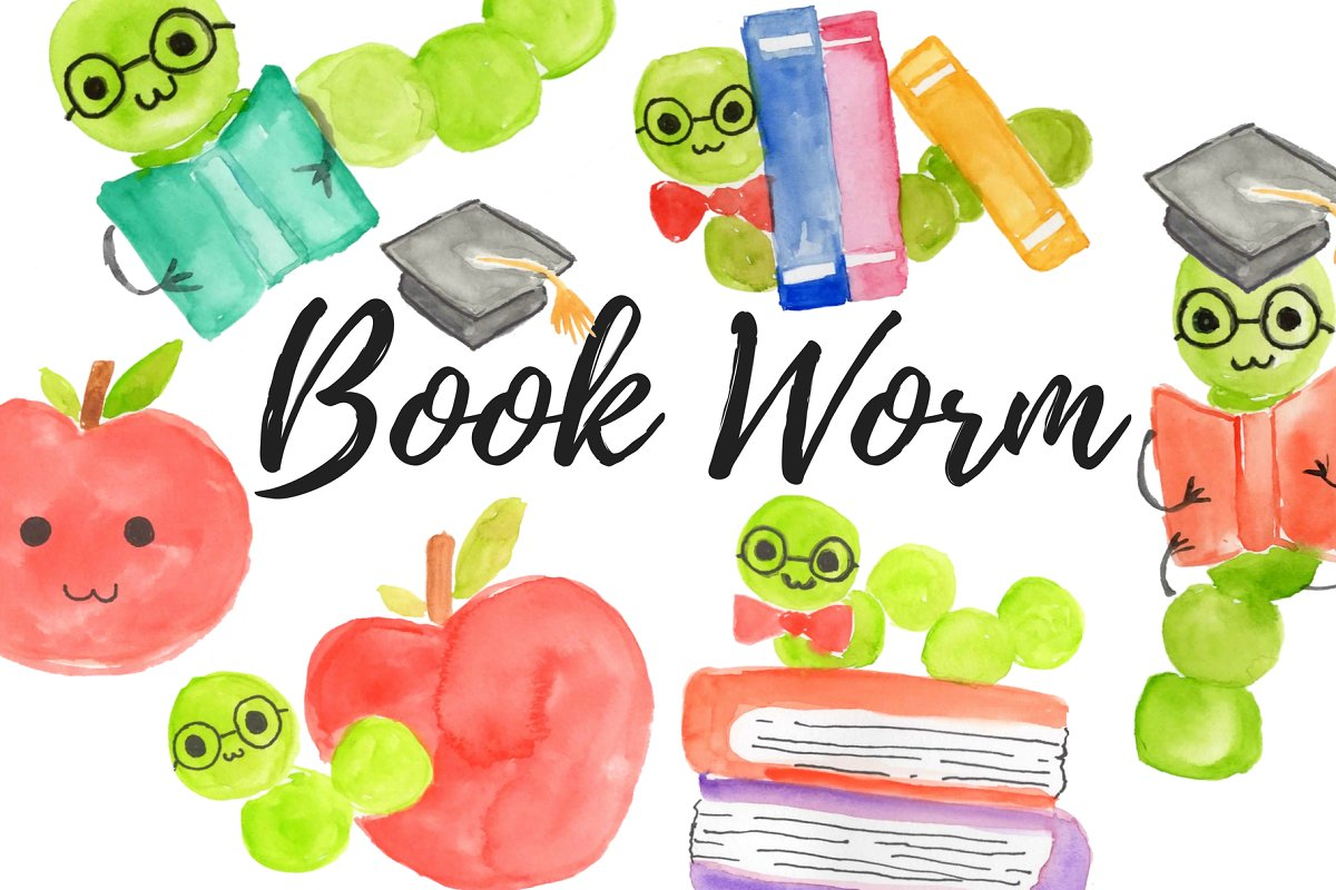 Watercolor school. Bookworm clipart