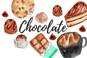 Watercolor chocolate food clipart