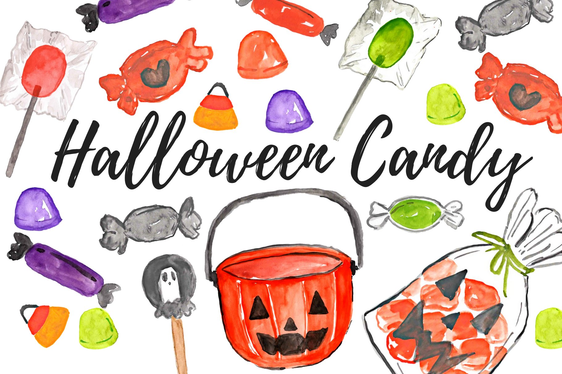 Watercolor Halloween Candy Clipart ~ Illustrations ...