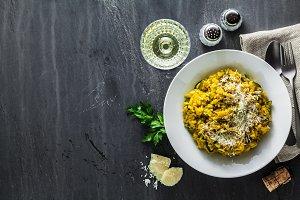 Italian dish yellow Risotto milanese