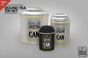 Round Tea Tin Set Packaging Mockup