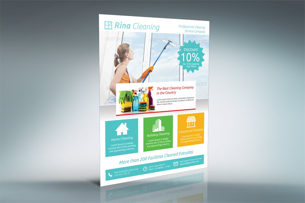 cleaning company flyer v flyer templates on creative market