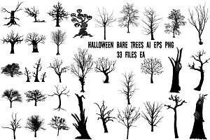 Halloween Bare Trees AI EPS PNG