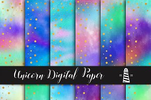 Unicorn Rainbow Textured Paper