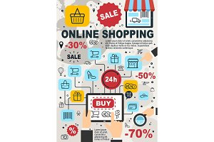 Online shopping vector poster