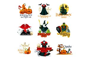 Halloween night party symbols