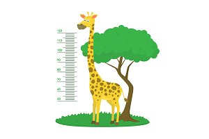 Giraffe and Tree Card Poster.