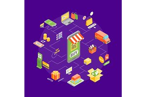 Online Shopping Concept Set. Vector