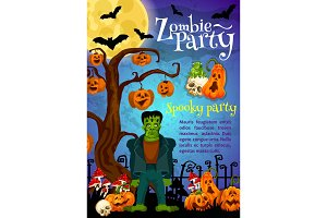 Zombie party banner for Halloween