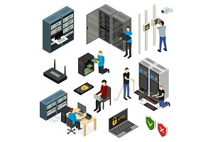 Server Hardware Set Isometric View.