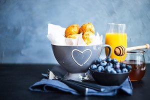 Breakfast concept homemade donuts