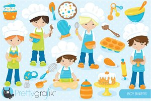 Baking boys clipart