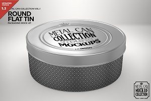 Round Flat Tin Packaging Mockup