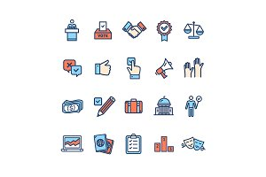 Election Thin Line Icon Set. Vector