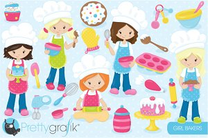 Baking girls clipart