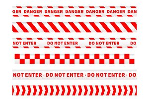Red and white caution tapes