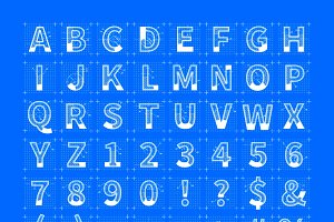 Blueprint style font sketches