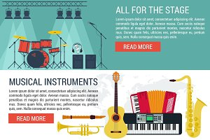Vector banners of musical